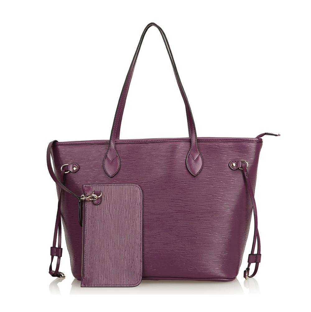 7e86dbfb4d Leather Large Top Zip Bucket Tote Shoulder Bag Shopper Handbag with  Detachable Pouch-Purple