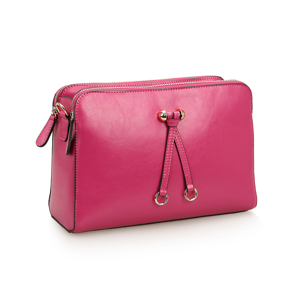 Women s Leather Bowknot Top Zip Mini Cross Body Bag With Triple Compartment-Rose  Pink