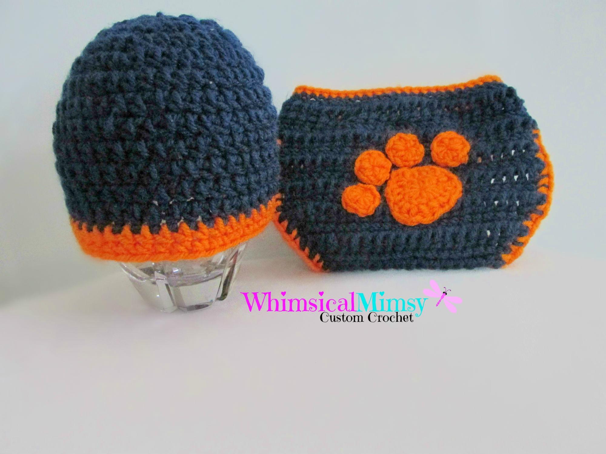 e5b355224d6 Crochet Auburn Football Inspired Newborn Hat and Diaper Cover Set Photo Prop