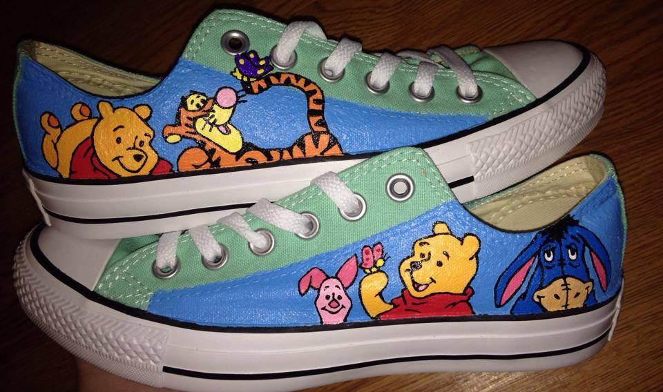 3de9b091e353 Pooh   Friends Hand Painted Converse Shoes on Storenvy