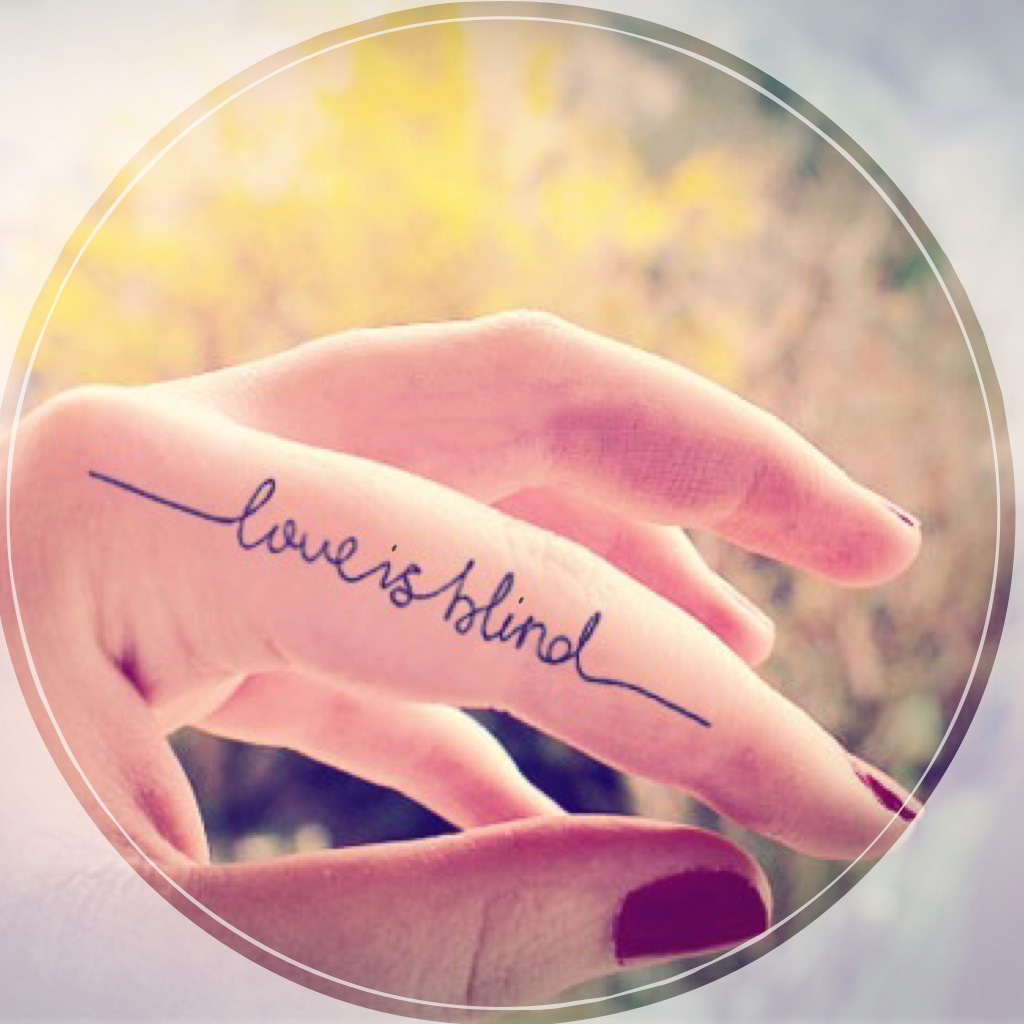 2pcs LOVE IS BLIND Thin Line Calligraphy Quote Temporary Tattoo