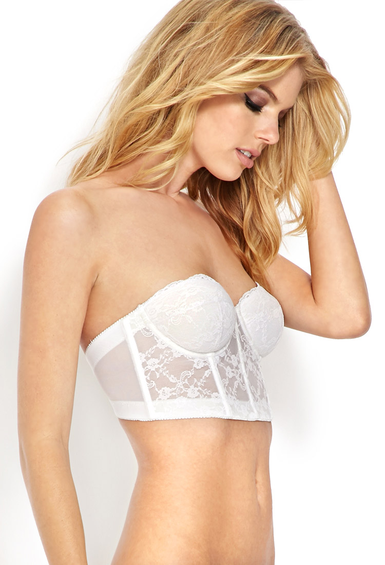 27bf5960f Forever 21 Strapless Lace Corset Bra in White on Storenvy
