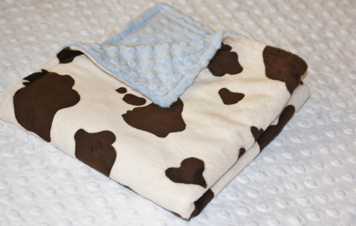 Minky Blanket Toddler Blanket Baby Blanket Child Blanket Cream And Brown Cow Print Minky With Baby Blue Dot Minky Blankets Swaddling Baby