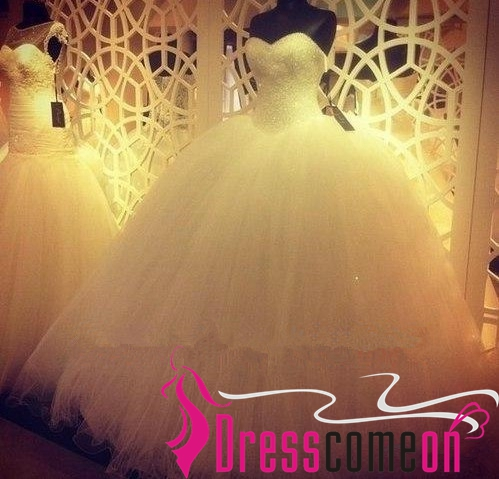 Luxury Ball Gown White Wedding DressWhite Brides DressReal Bridal Dress