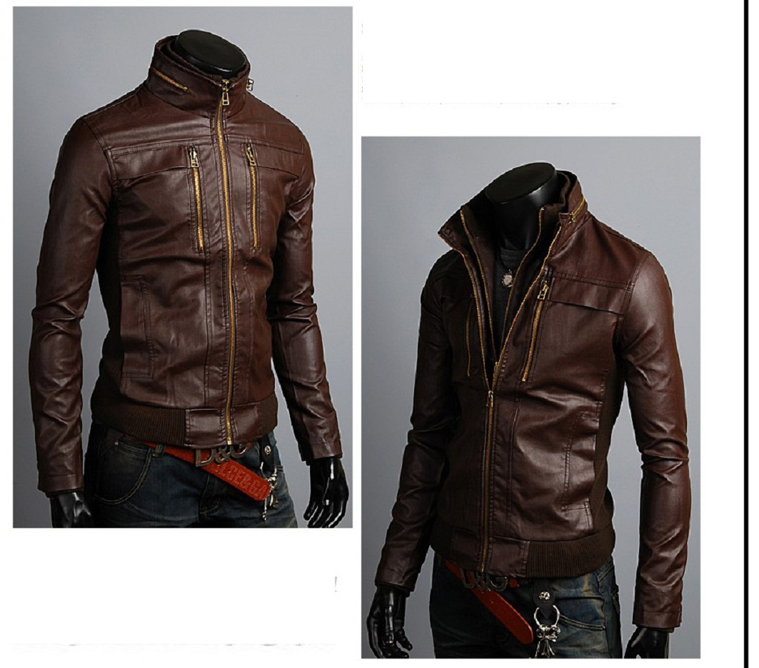 0021a0155 Men s Leather Jackets Korea Style Casual Slim Fit