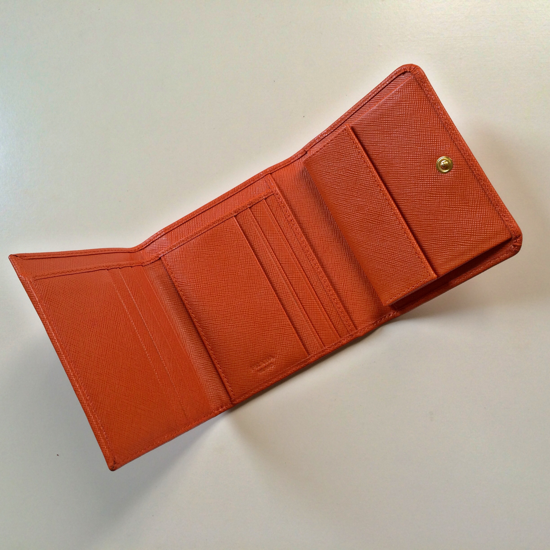 8b663b5a3f55 ... new zealand prada saffiano papaya tri fold wallet thumbnail 2 fa691  ee804