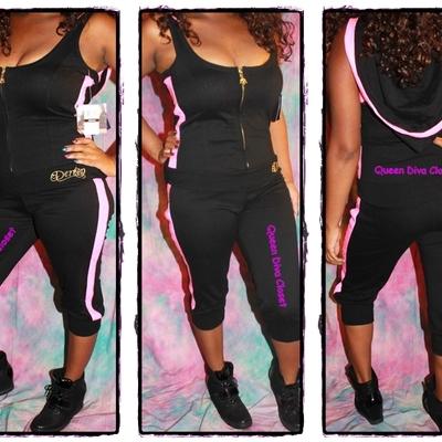 178dd558b09 ... New dereon black pink sequin hoody capri stretch knit cotton jumpsuit  romper jumper m 7