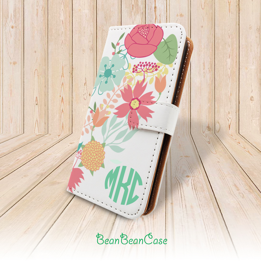 best service ce02b bc694 Flower wallet flip cover, monogram custom personalized case for iPhone  X/7/6s/6/5/5s/5c, for moto X moto X2, samsung galaxy S5 S6 edge Note 5 4  (A57) ...
