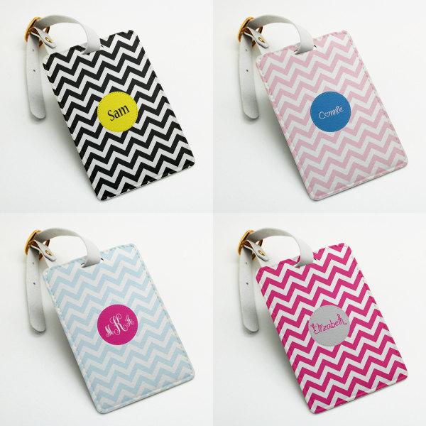 4f7bfcc49ceb Personalized Luggage Tag, Bag Tag, Travel Tag, Suitcase Tag, Id tag,  chevron zigzag style, Custom Name Monogram luggage tag with strap from ...