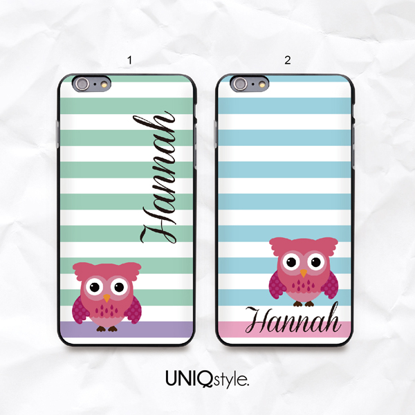 low priced 9156b c0139 Cute Owl personalized custom monogram phone case with stripe for iPhone  7/6/6s plus, Samsung S6,S7,S8, Note 5, Sony Z4 Z5, LG G6, HTC One M9 from  ...