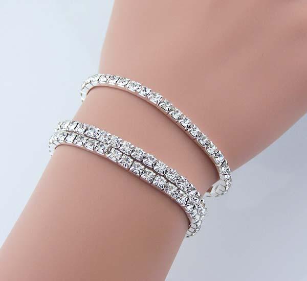 3 sets of Swarovski Artificial diamond bracelet Rhinestone jewelry Shining crystal  bracelet Women Bridesmaid bracelets wedding jewelry Elastic on Storenvy 9a5e824fb341