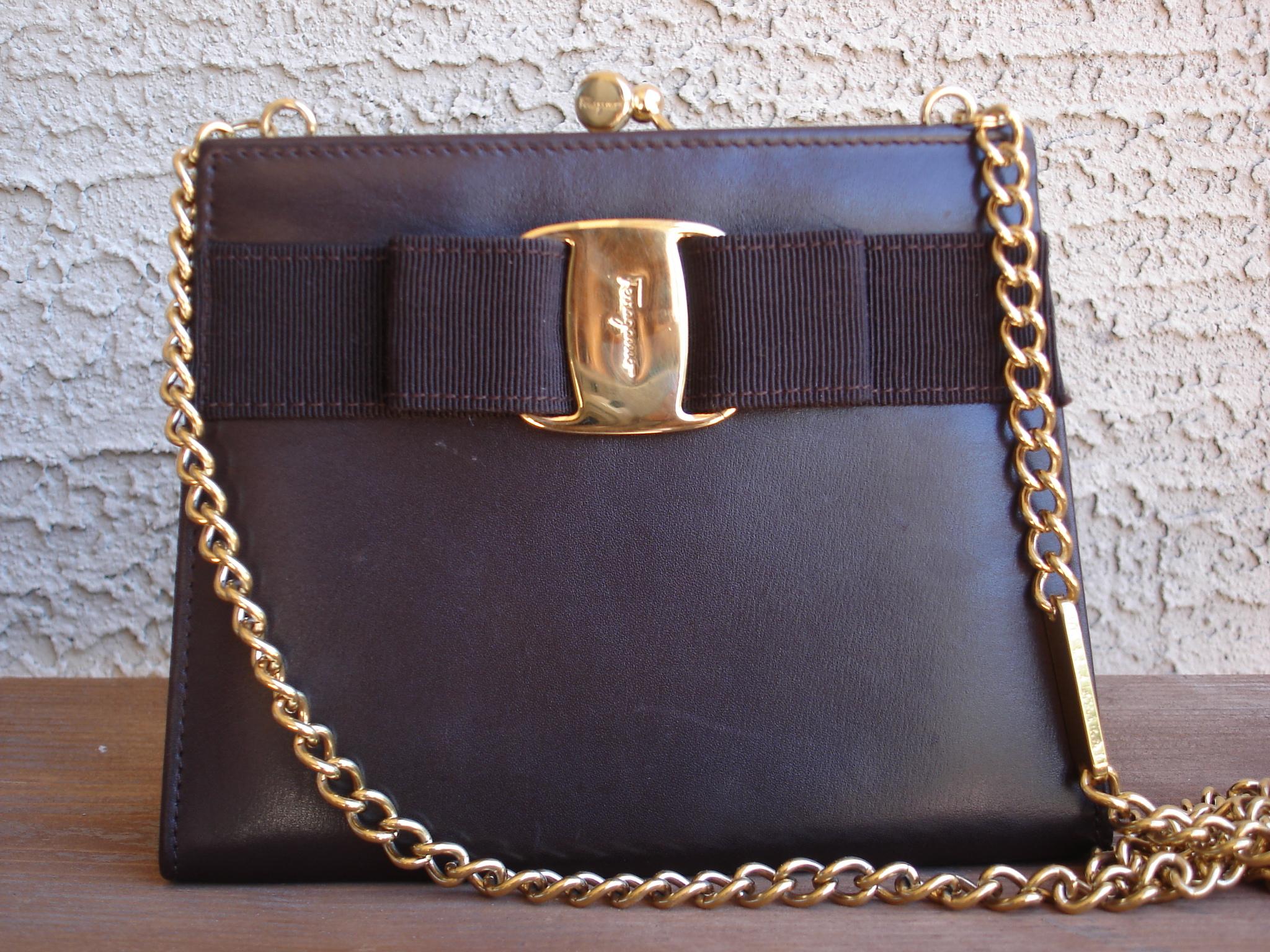 0e5e9926a29c Authentic Vintage Salvatore Ferragamo Vara Gold Chain Brown Leather Mini Bag  Pouch Purse