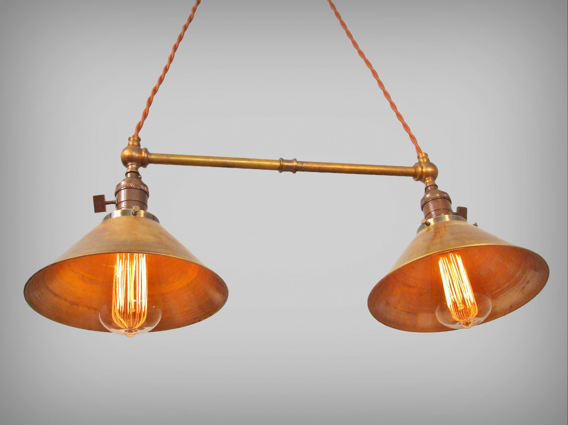 Twin Pendant Lamp W/ Brass Shades