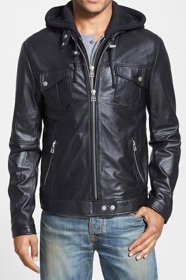 Mens Hooded Leather Jacket Men Black Biker Leather Jacket