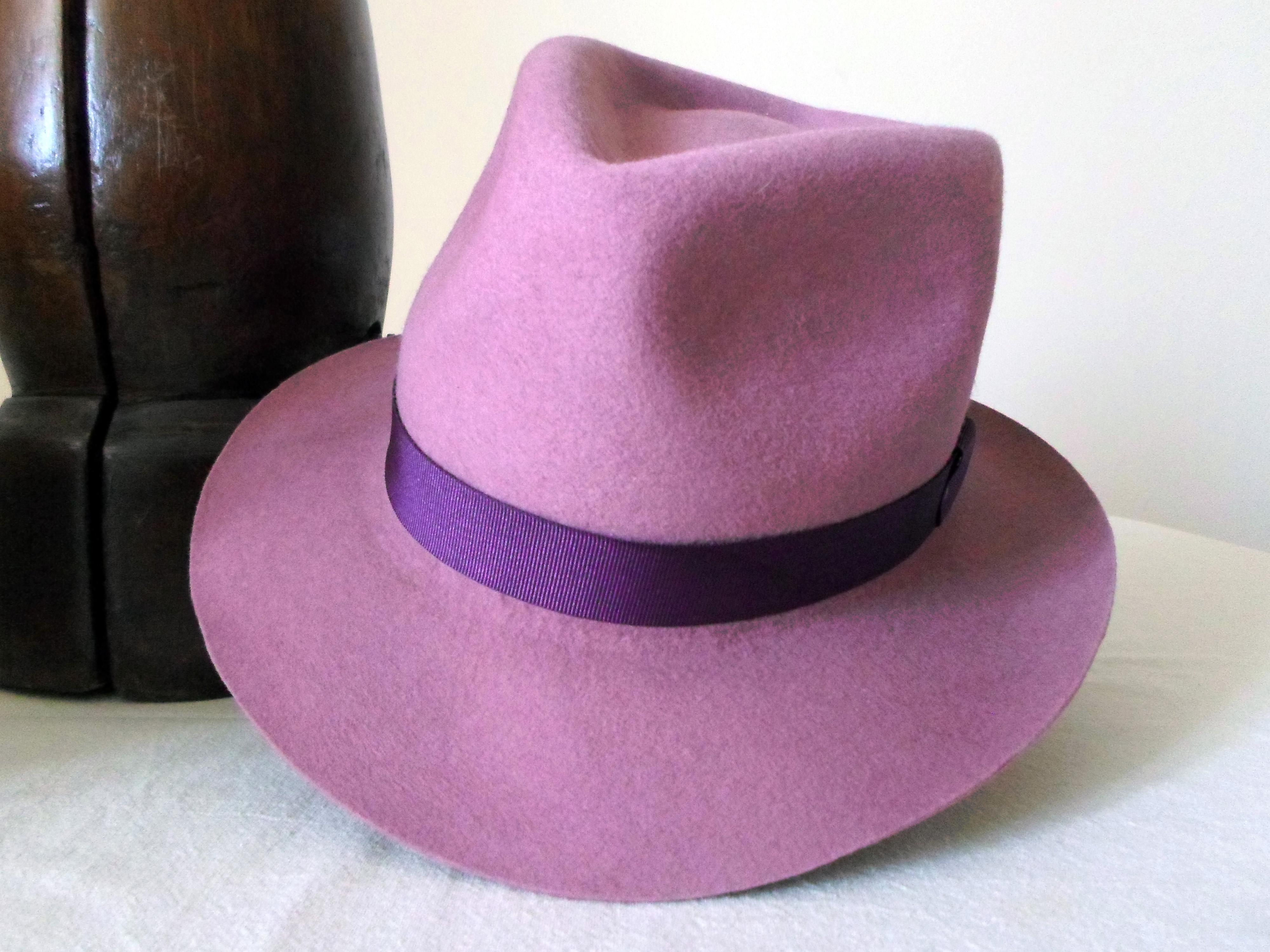 Lavender Pink Wool Felt Fedora - Wide Brim Merino Wool Felt Handmade ... a4ac55cbbd6