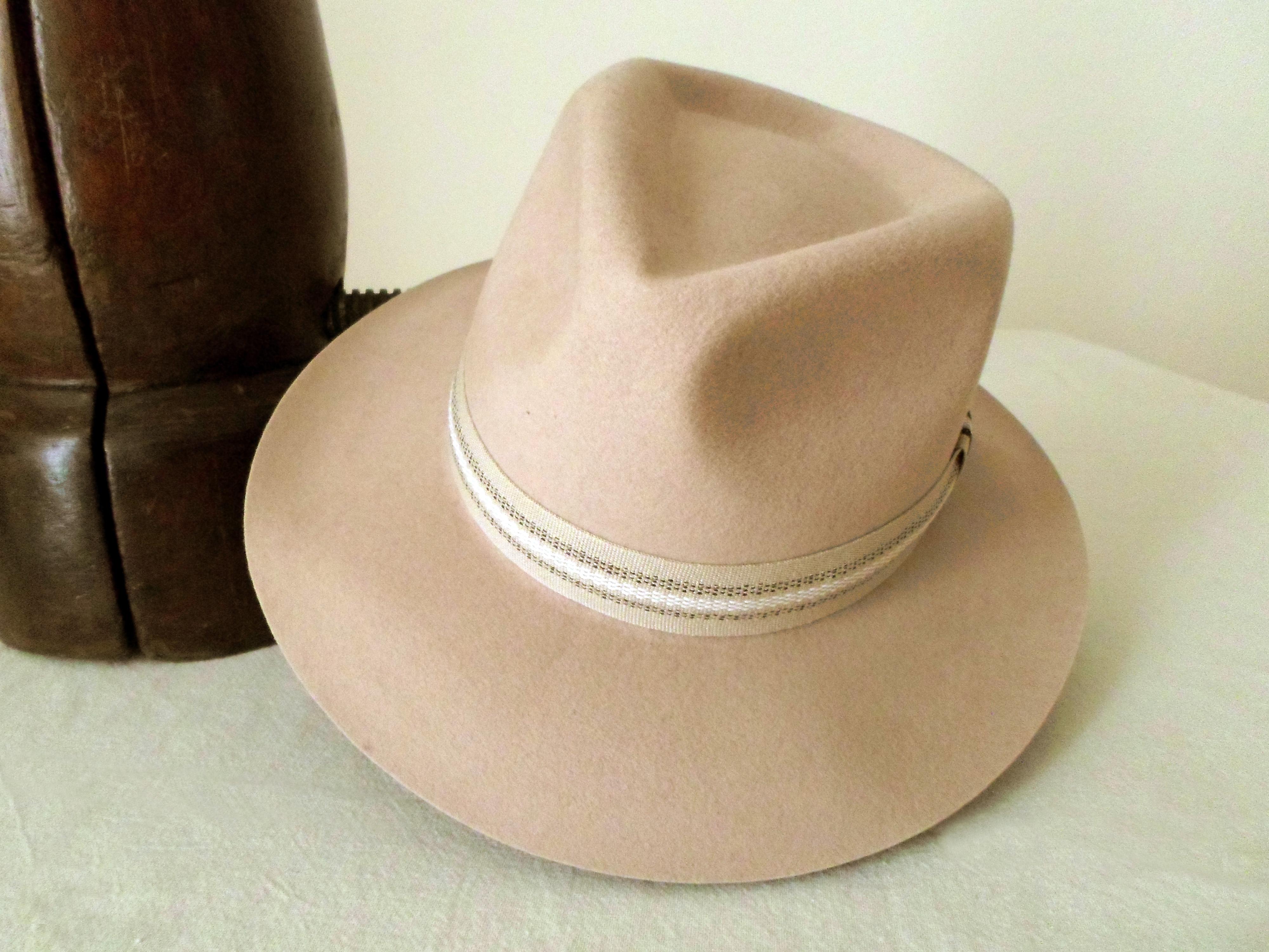 5a1ebd52f Beige Wool Felt Fedora - Wide Brim Merino Wool Felt Handmade Fedora Hat -  Men Women