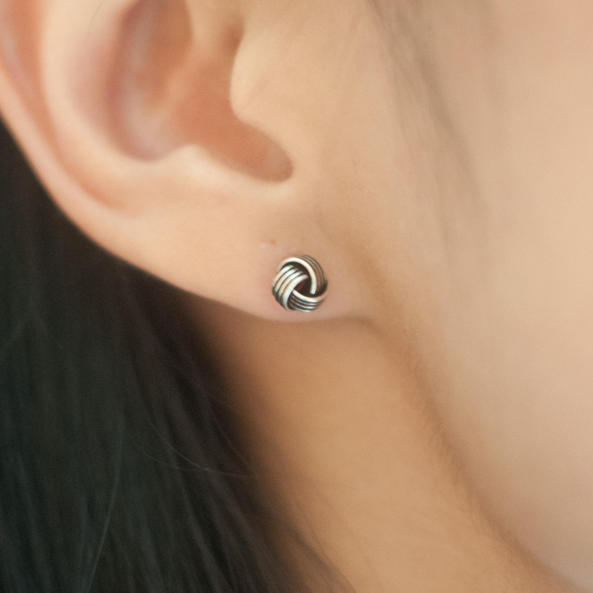 3eba343c4 6mm Knot Silver Metal Stud Earrings Sterling Silver Stud Earrings For Women  Wedding Earrings ER0412