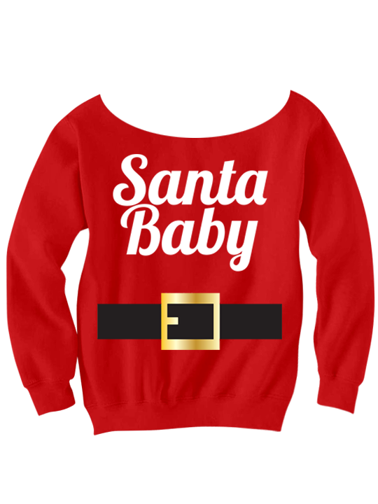 Christmas Shirt Santa Baby Ladies Long Sleeve Cute Gifts