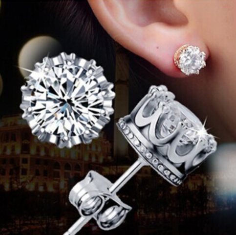 Fine Jewelry Collection Crown Stud Diamond Earrings On