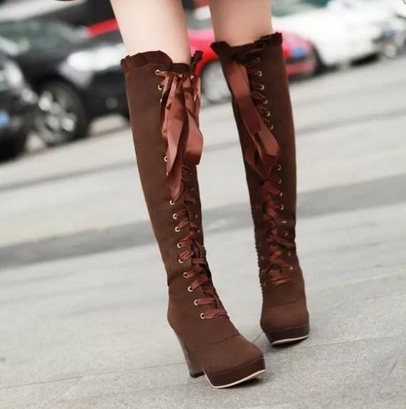 f163ca6b383b Women fashion sexy bowknot lace high-heeled boots · Asian Cute ...