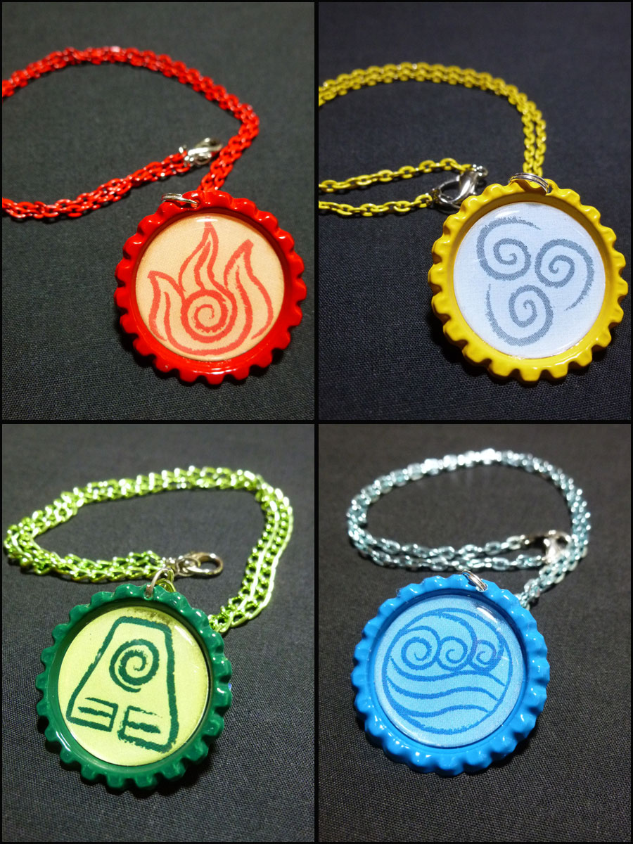 Full Set Of Element Benders Necklaces 4 Handmade Monostache