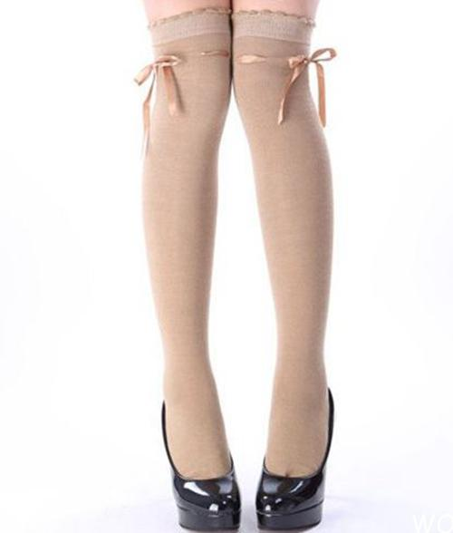 0bd1bff2798 light beige brown ribbon threaded bow over the knee high socks kawaii  stockings OTKs dolly kei