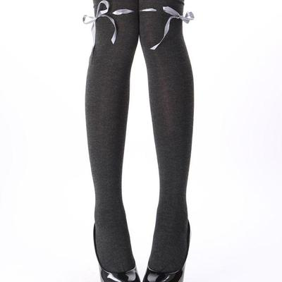 e43c121ac5e Dark gray grey ribbon threaded bow over the knee high socks kawaii stockings  otks soft grunge