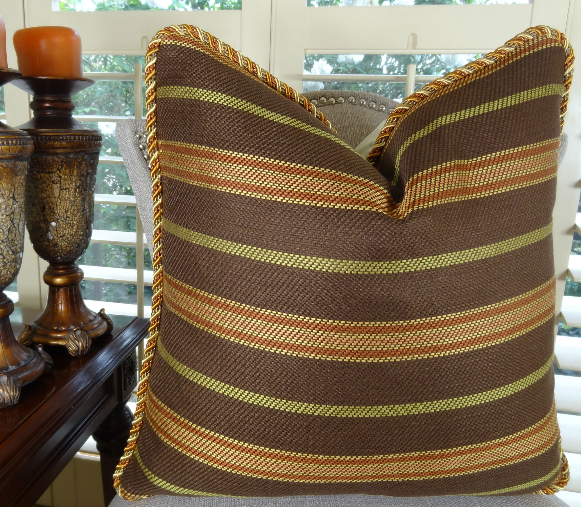 20 X 20 Luxury Decorative Throw Pillow Designer Brown Copper Green Stripe Pillow Modern Stripe Pillow Truffle Brown Couch Pillow 11338 Sold