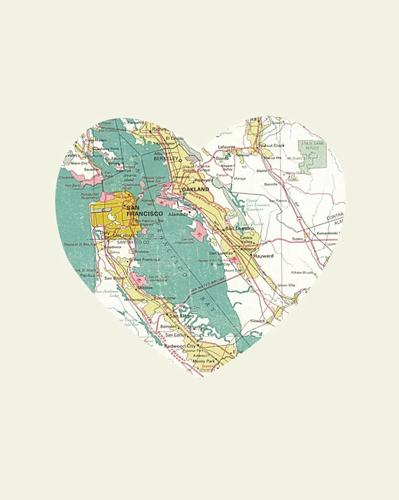 San Francisco California Art City Heart Map 8x10 Art Print On Storenvy