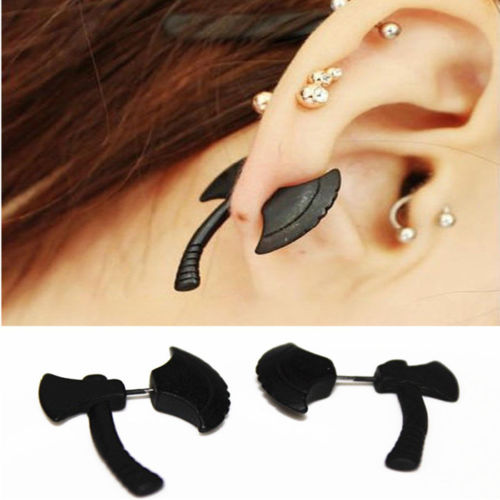 black axe ax two sided earrings out creepy