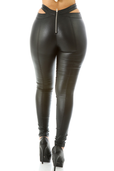 Cross Hip Faux Leather Waist Pants 183 Stylo Clothing And