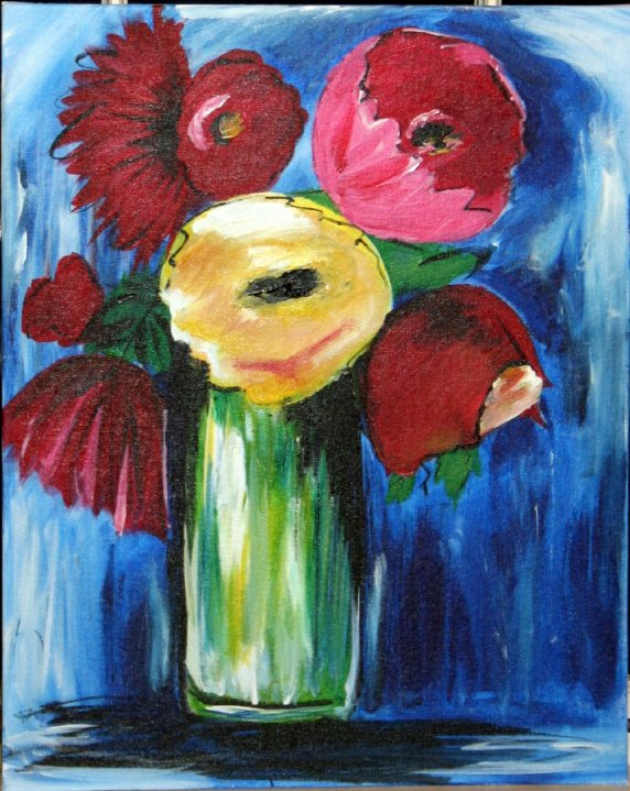 Abstract flowers in gl vase 16x20