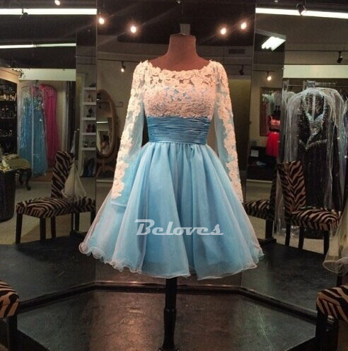 069c3750468 Light Blue Long Sleeves Cocktail Dress With Lace Appliques · Beloves ...