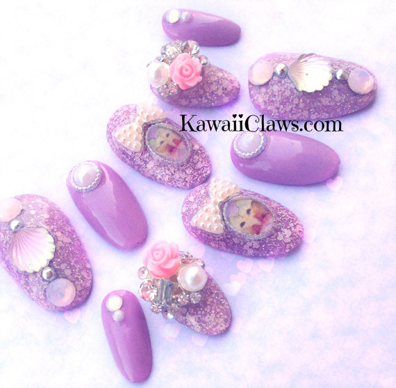 Lavender Glitter Kitty Princess full false/fake 3D nails Japanese ...