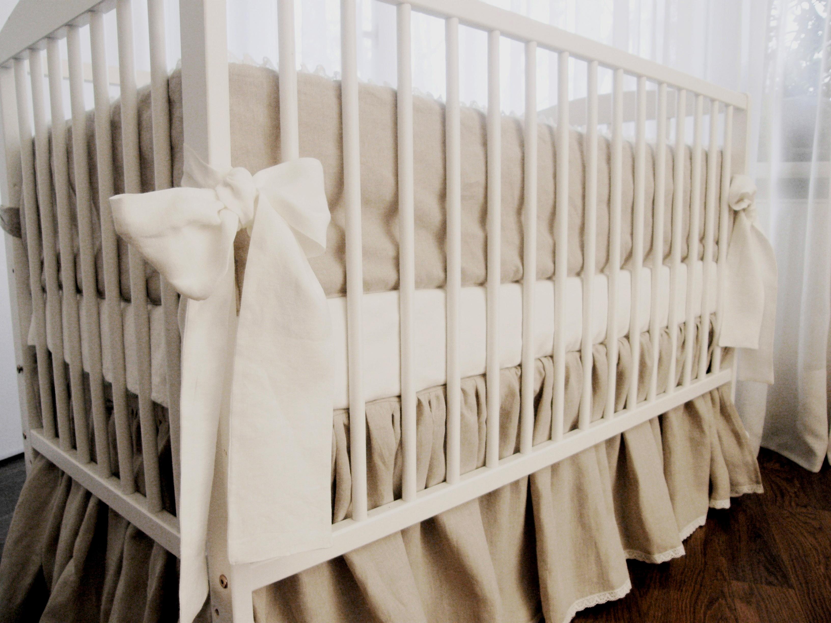 Crib Bedding Crib Skirt And Bumper Pure Linen On Storenvy