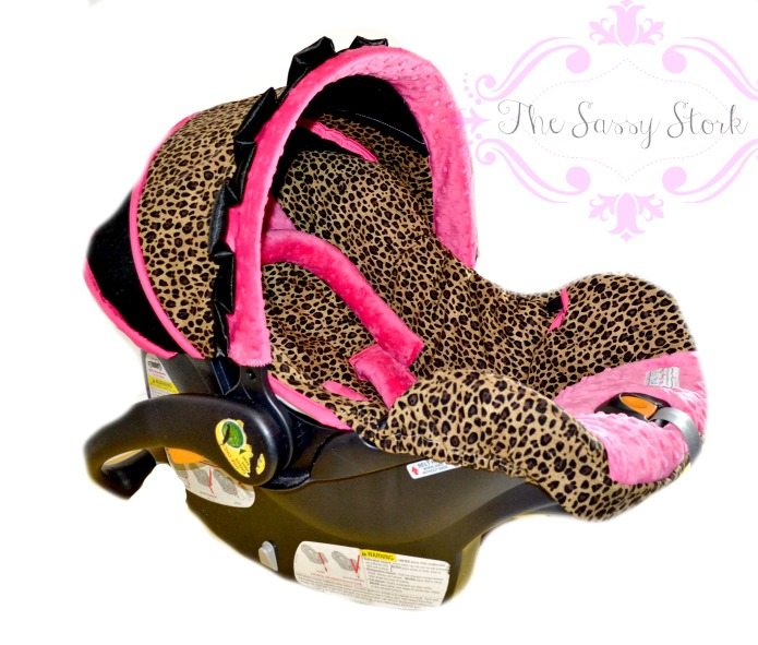 Cheetah And Hot Pink Infant Car Seat Cover With Headrest Strap