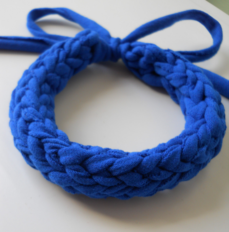 Blue Chunky Crocheted T-Shirt Yarn Bracelet On Storenvy