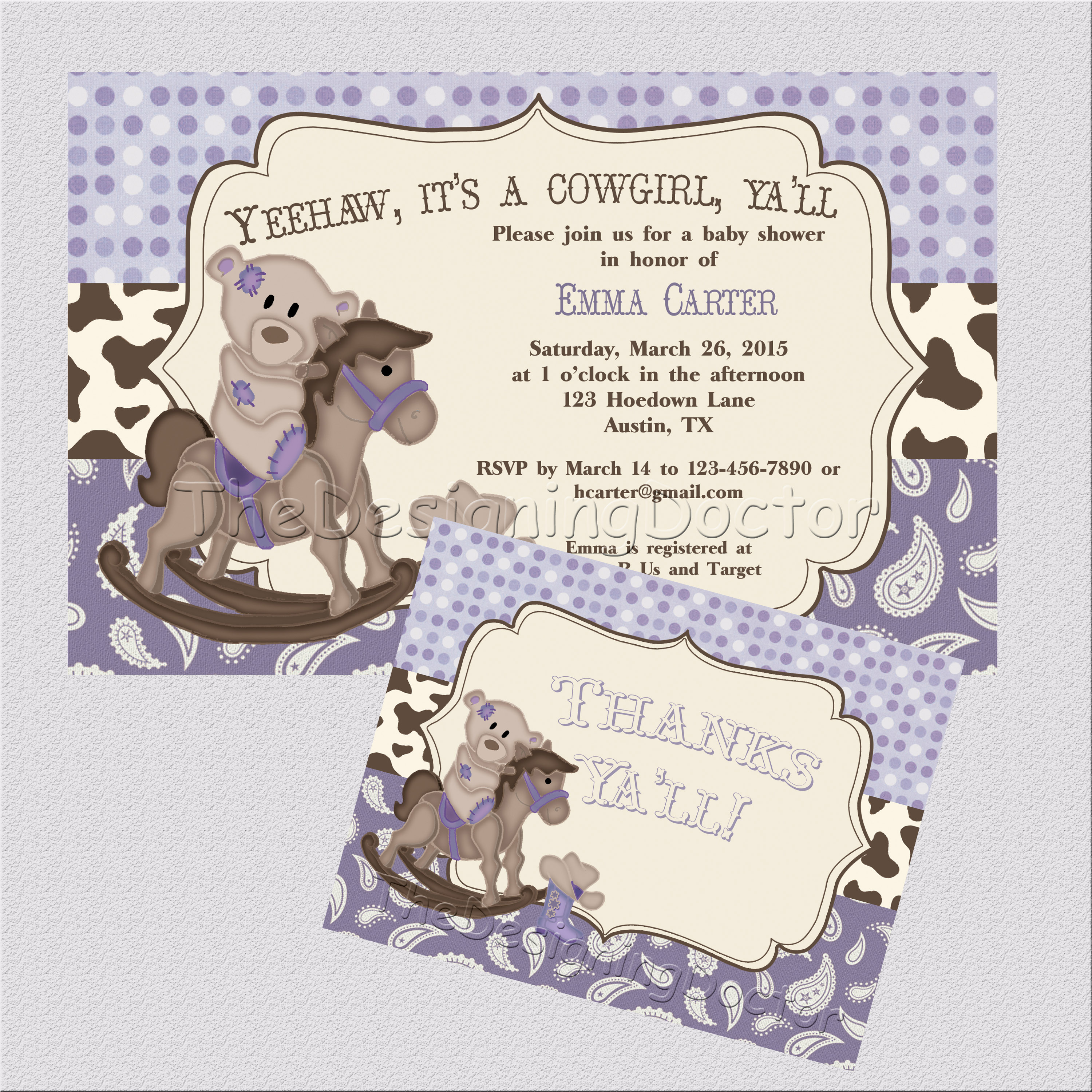Lavendar Purple Cowgirl Country Western theme Baby Shower ...