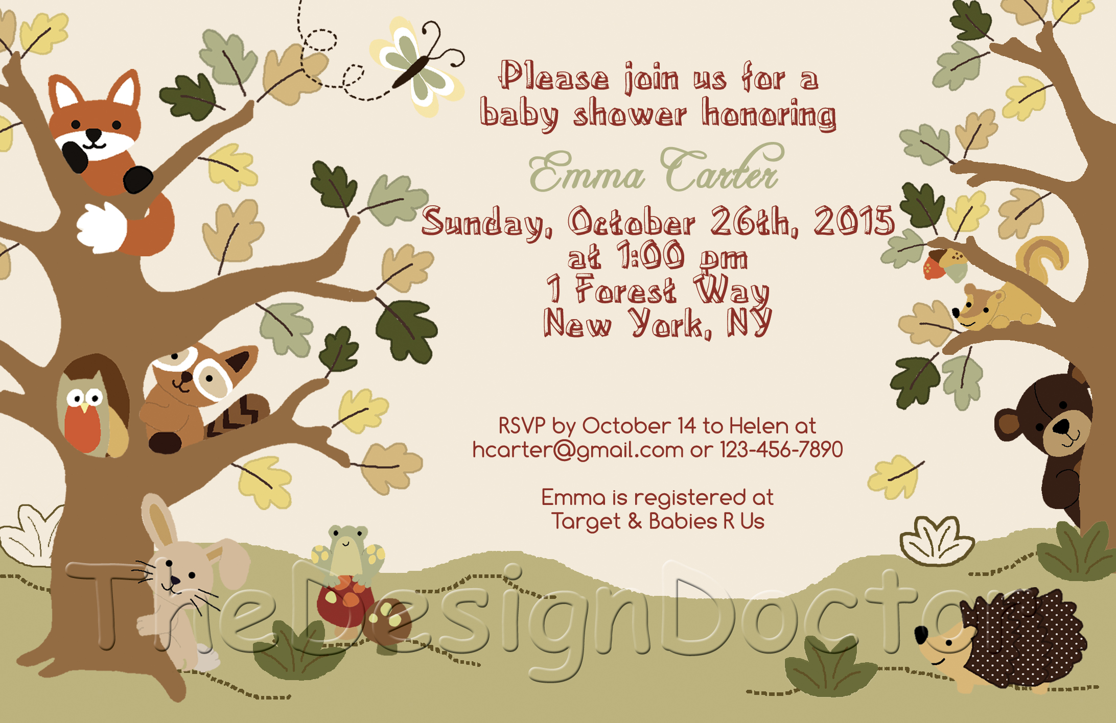Woodland Animal Echo Forest Friends Theme Baby Shower Invitation And