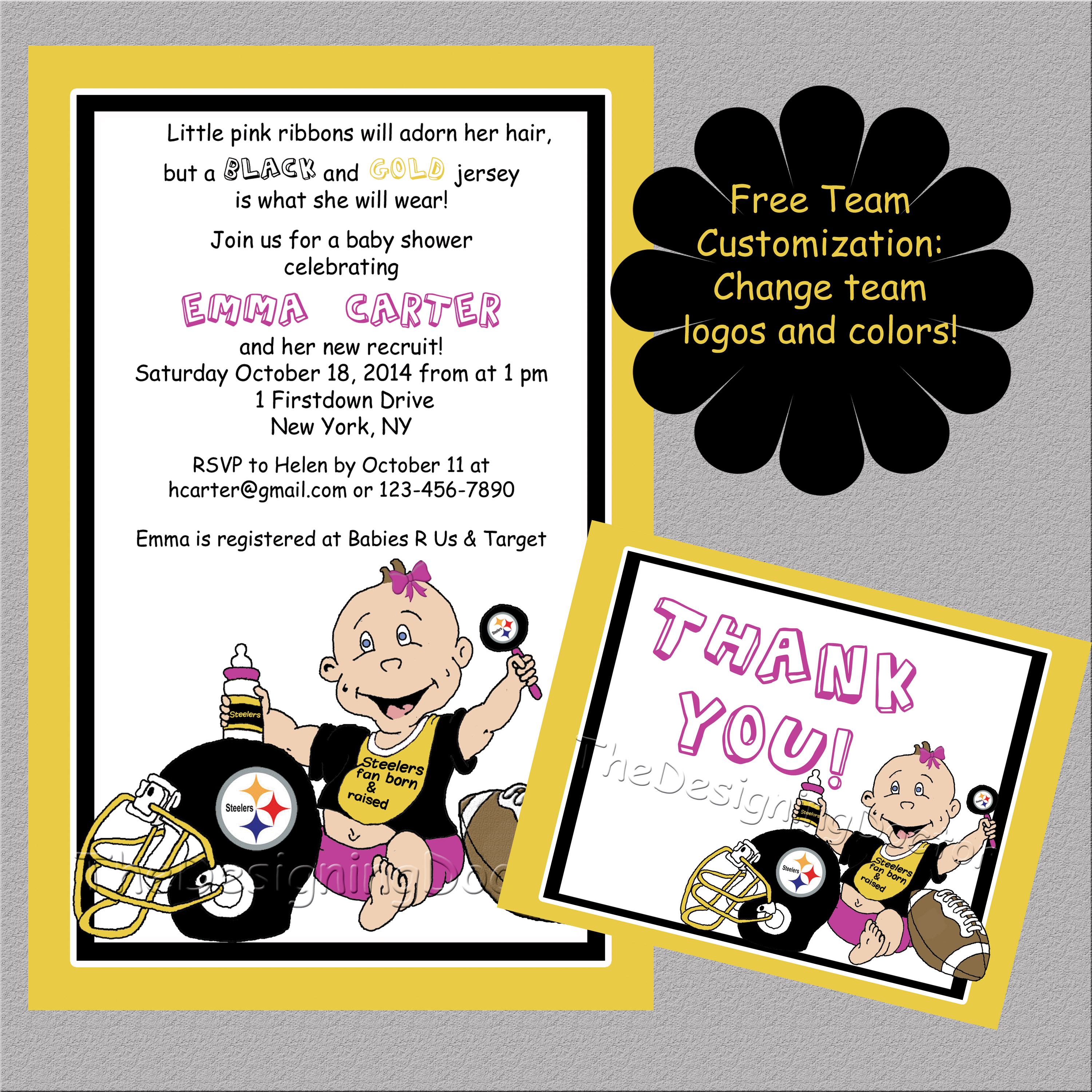 Girl Your Favorite Team Steelers Football theme Baby Shower ...