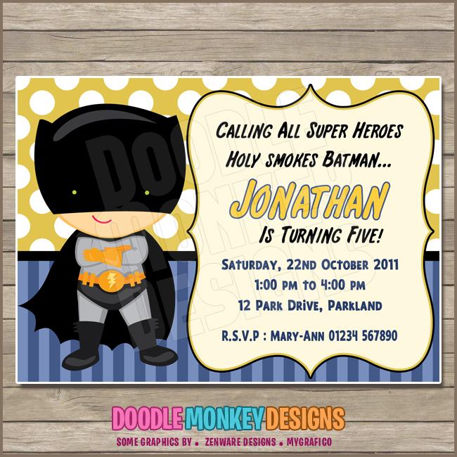 Batboy V1 Batman Party Invitation Diy Printable Digital Invite