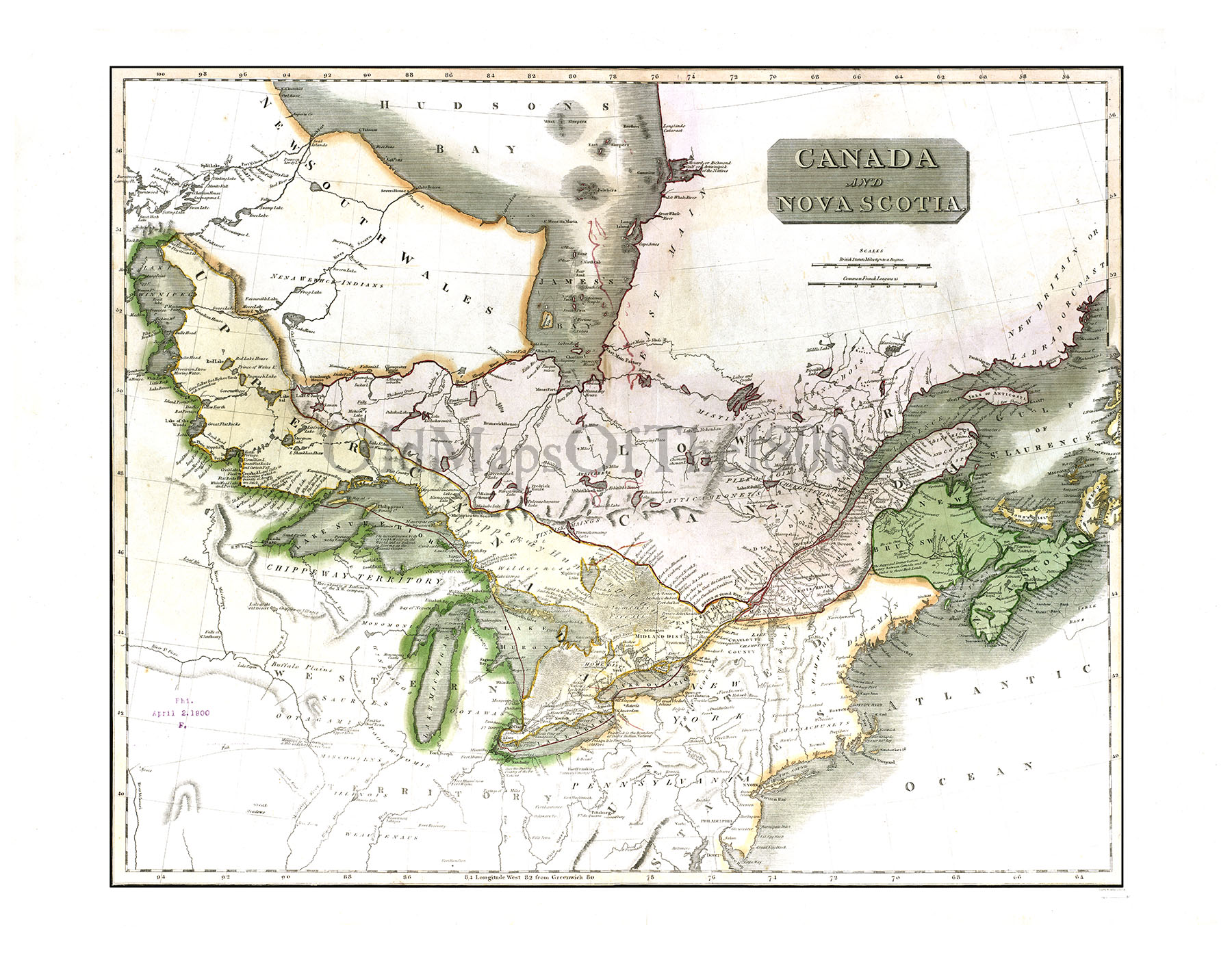 Canada and Nova Scotia in 1817 - Vintage map, Antique map, Reproduction,  Framable map, Fine Art, wall map, Great Lakes, Hudson Bay, Asia! from The  Old