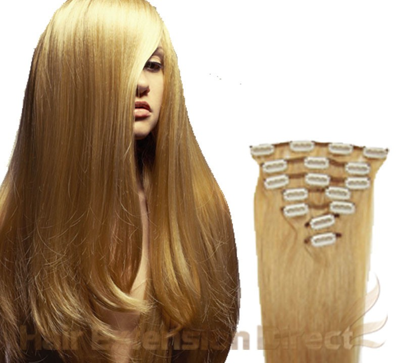 18 Golden Blonde Full Head Premium Clip In Hair Extensions On Storenvy