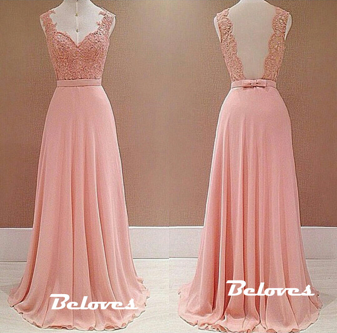 Pink Chiffon Prom Dress With Lace Bodice And Open Back · Beloves ...