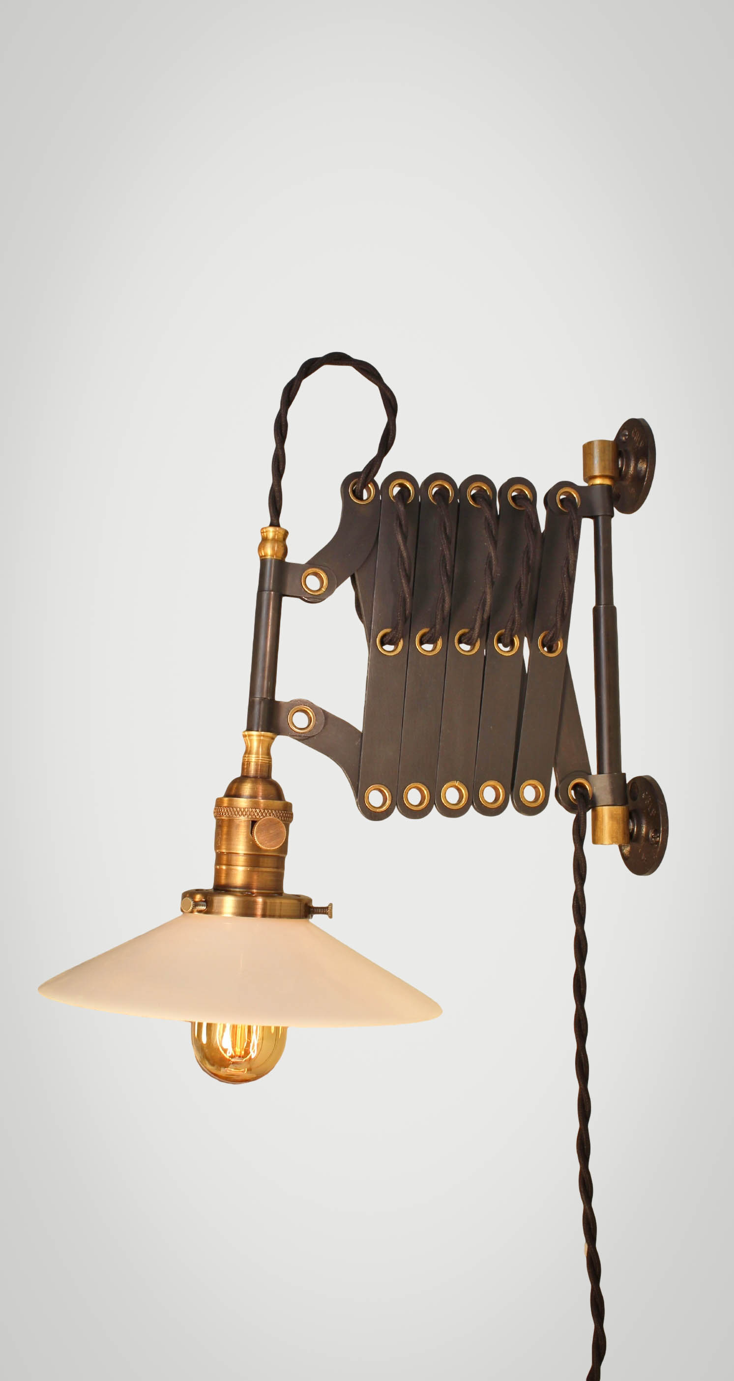 Wall Mounted Accordion Lamps : Vintage Industrial Scissor Light - Expandable Accordion Swing Arm Wall Sconce Steampunk Lamp ...
