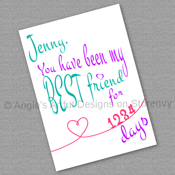 customized printable best friend valentine s day card cherish you