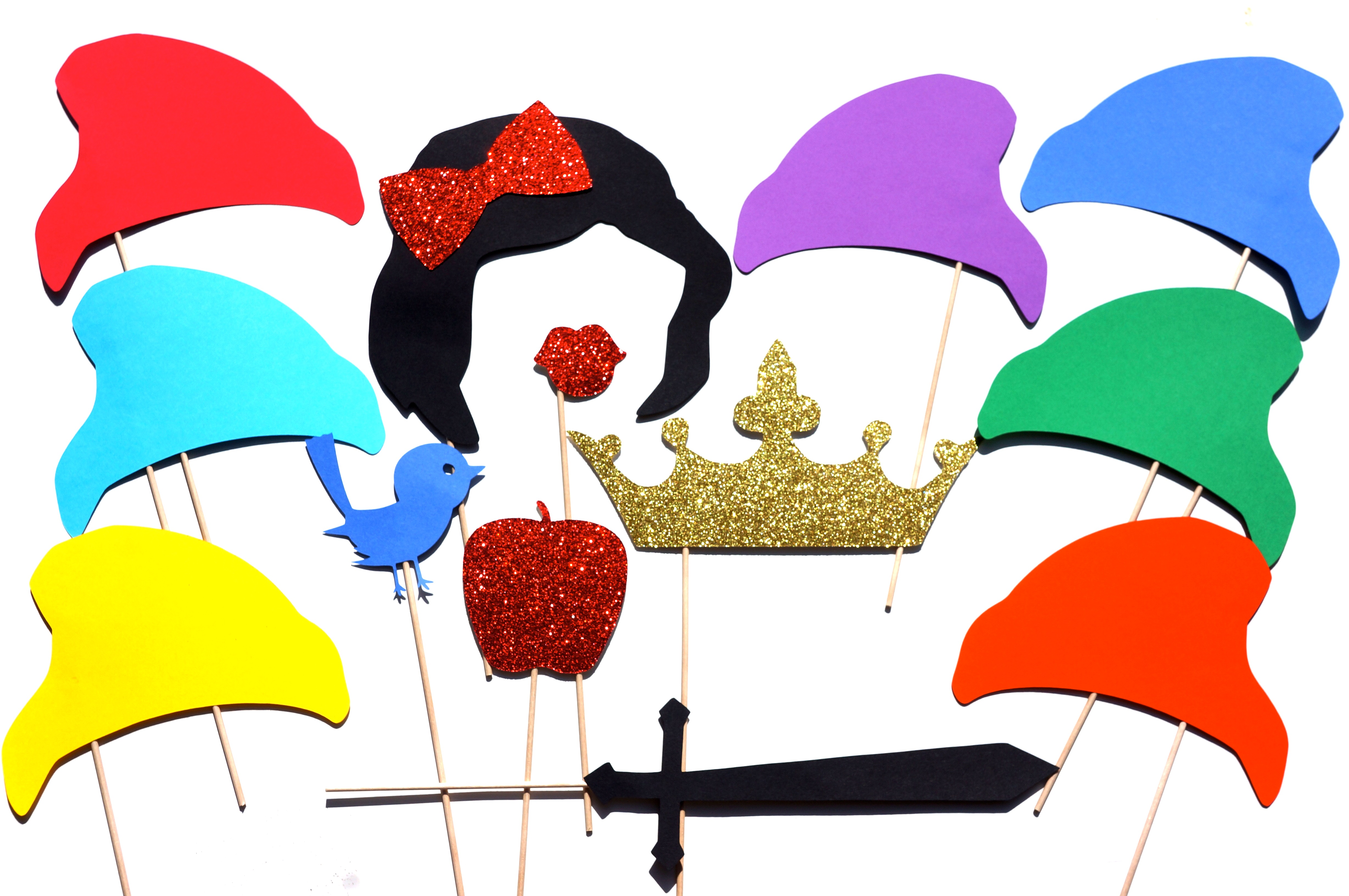 Snow White and the Seven Dwarfs Photo Booth Props ~ Set of
