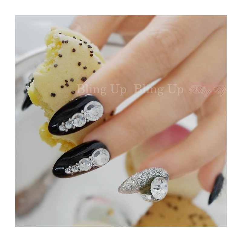 Glossy Black Bling 3D Nail Art With Silver Glitter And Swarovski Crystals