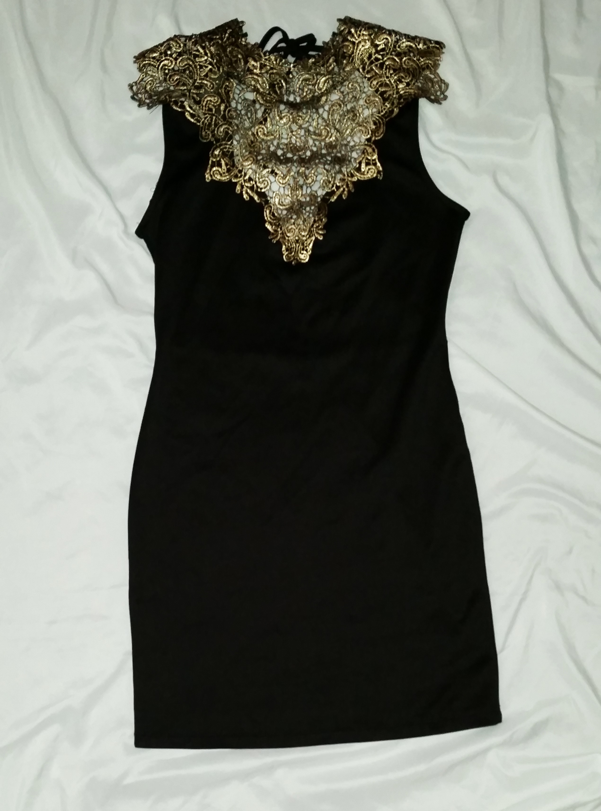 e7a4912c42bcf Charlotte Russe gold embroidered black dress sz M on Storenvy