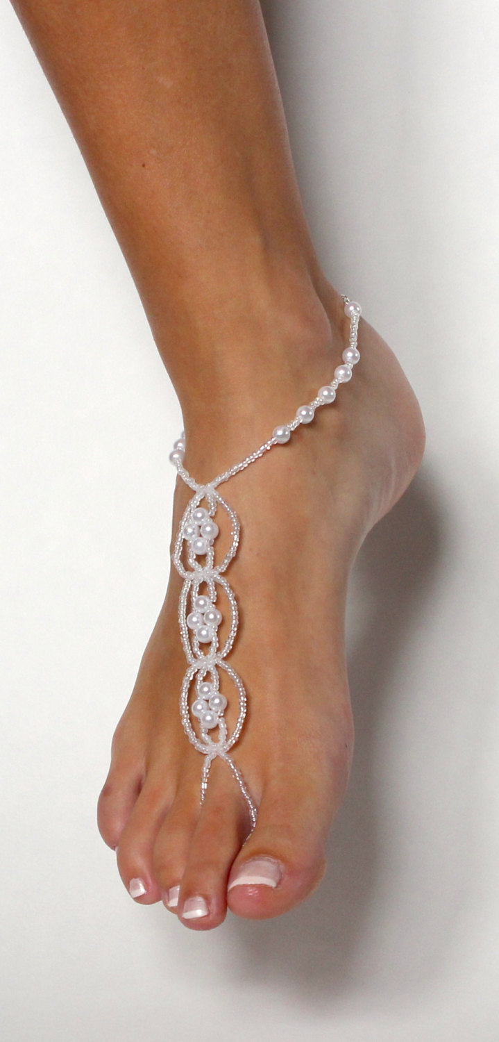 0a52afa7e26e ... Pearl Destination Wedding Shoes White Beaded Barefoot Sandals Shoeless  Sandals Anklet Foot Jewelry - Thumbnail 4